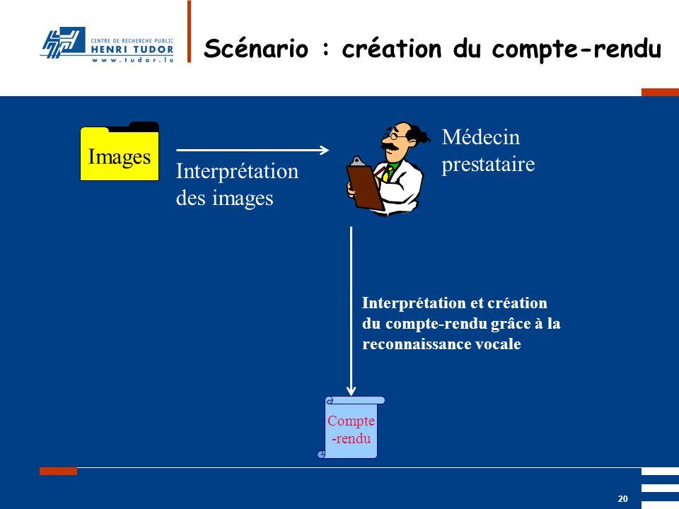 Mai 2004 UP2 GBM Nancy RIS/ PACS 20 Scénario : création du compte-rendu Images Médecin prestataire Interprétation des images Interprétation et créatio