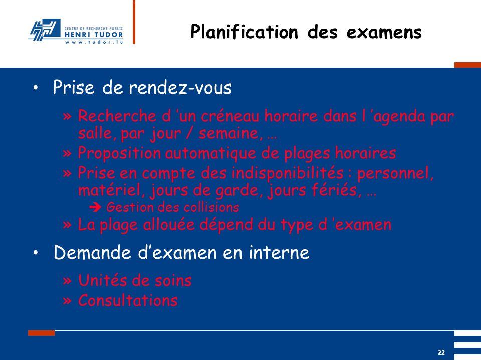Mai 2004 UP2 GBM Nancy RIS/ PACS 22 Planification des examens Prise de rendez-vous »Recherche d un créneau horaire dans l agenda par salle, par jour /