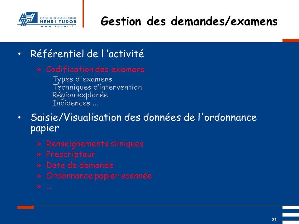 Mai 2004 UP2 GBM Nancy RIS/ PACS 24 Gestion des demandes/examens Référentiel de l activité »Codification des examens Types d'examens Techniques dinter