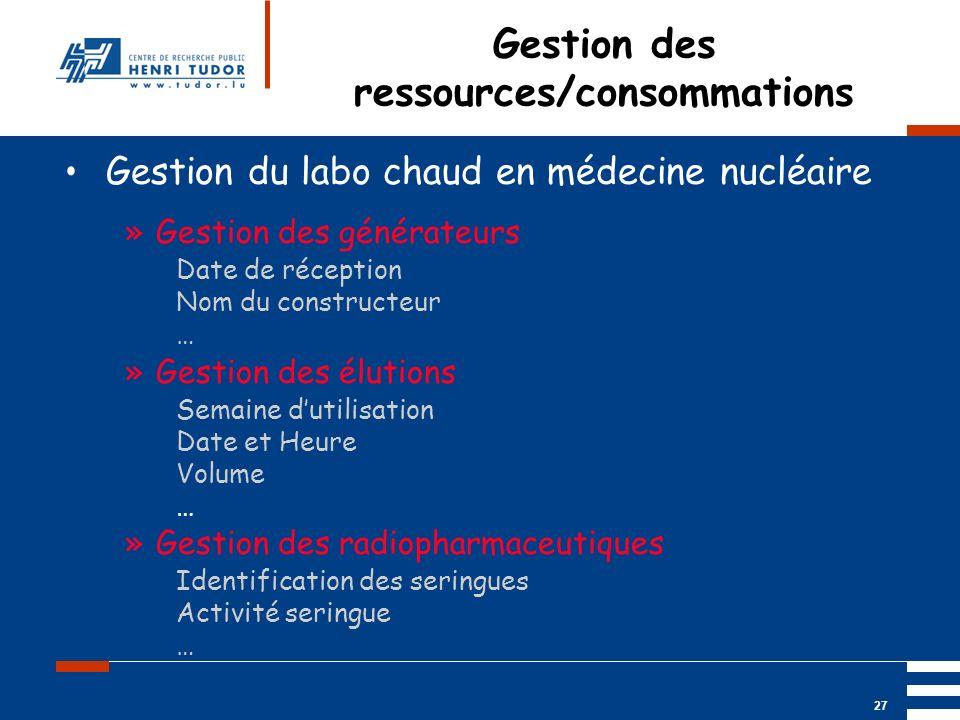 Mai 2004 UP2 GBM Nancy RIS/ PACS 27 Gestion des ressources/consommations Gestion du labo chaud en médecine nucléaire »Gestion des générateurs Date de