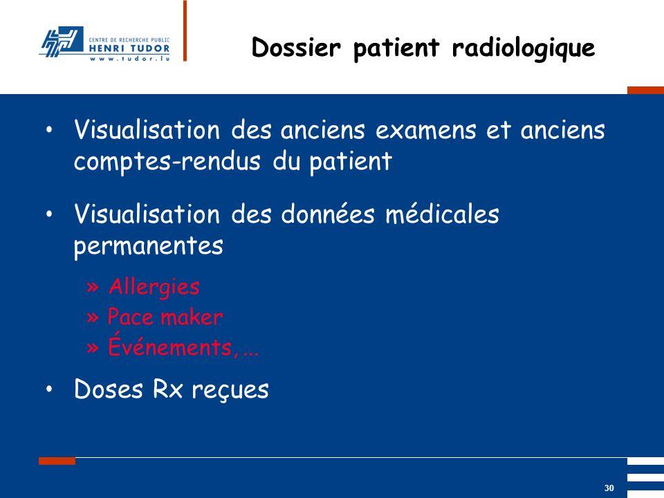 Mai 2004 UP2 GBM Nancy RIS/ PACS 30 Dossier patient radiologique Visualisation des anciens examens et anciens comptes-rendus du patient Visualisation