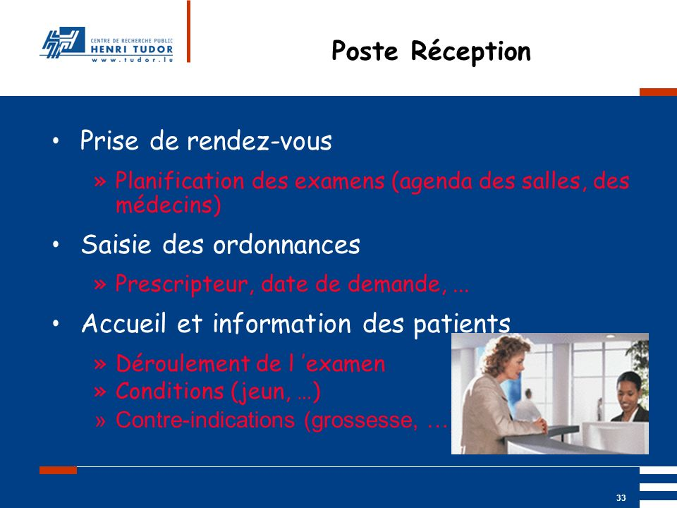 Mai 2004 UP2 GBM Nancy RIS/ PACS 33 Poste Réception Prise de rendez-vous »Planification des examens (agenda des salles, des médecins) Saisie des ordon