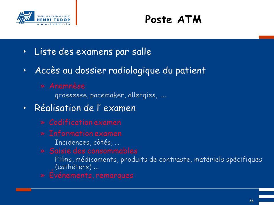 Mai 2004 UP2 GBM Nancy RIS/ PACS 35 Poste ATM Liste des examens par salle Accès au dossier radiologique du patient »Anamnèse grossesse, pacemaker, all