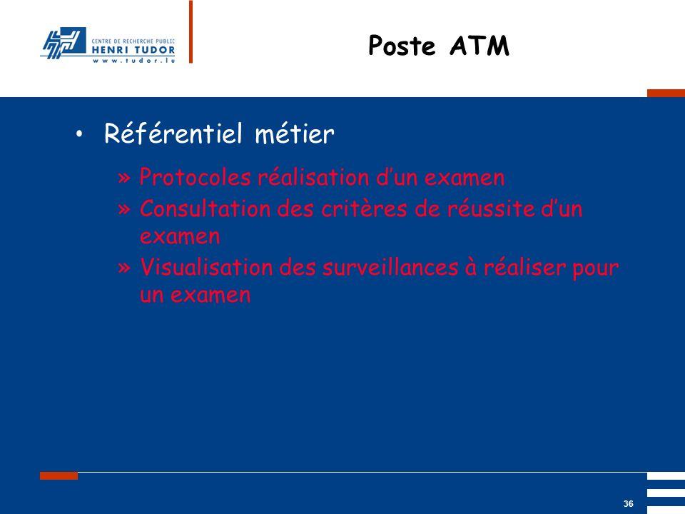 Mai 2004 UP2 GBM Nancy RIS/ PACS 36 Poste ATM Référentiel métier »Protocoles réalisation dun examen »Consultation des critères de réussite dun examen
