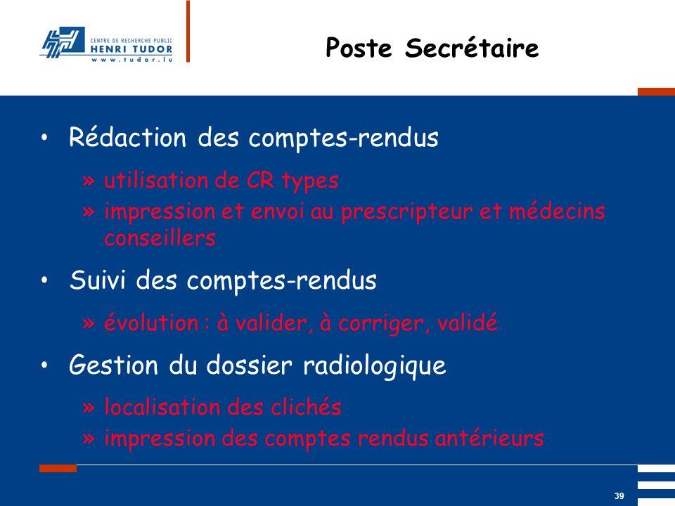 Mai 2004 UP2 GBM Nancy RIS/ PACS 39 Poste Secrétaire Rédaction des comptes-rendus »utilisation de CR types »impression et envoi au prescripteur et méd