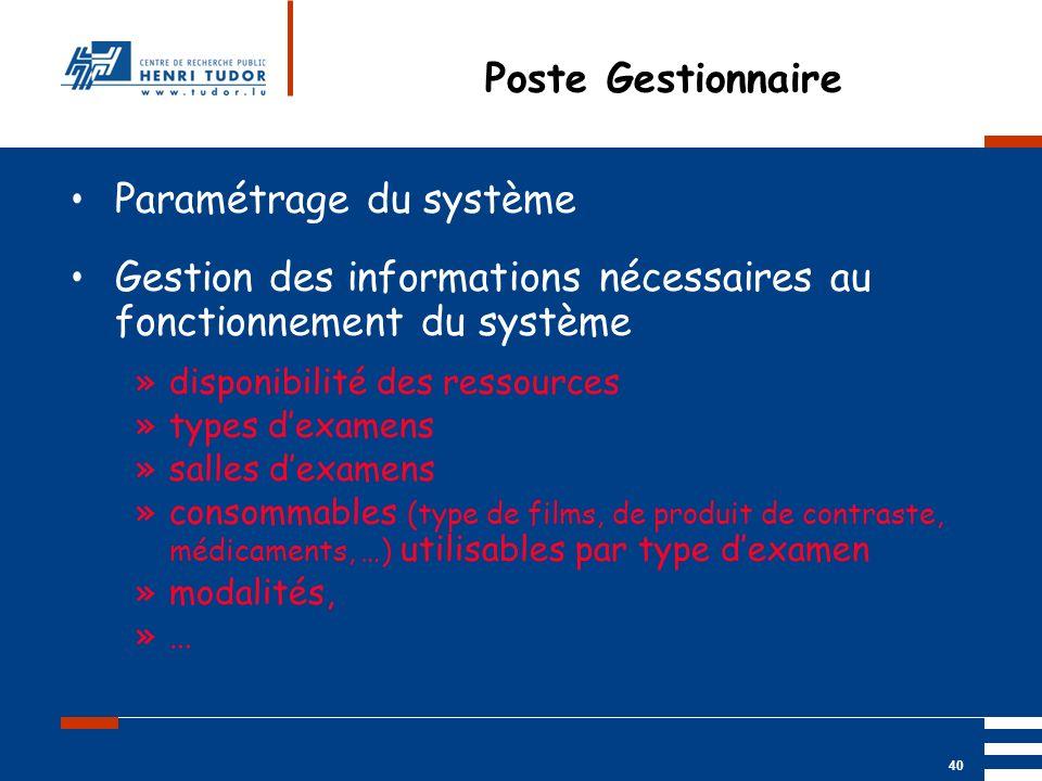 Mai 2004 UP2 GBM Nancy RIS/ PACS 40 Poste Gestionnaire Paramétrage du système Gestion des informations nécessaires au fonctionnement du système »dispo