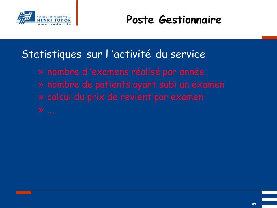 Mai 2004 UP2 GBM Nancy RIS/ PACS 41 Poste Gestionnaire Statistiques sur l activité du service »nombre d examens réalisé par année »nombre de patients