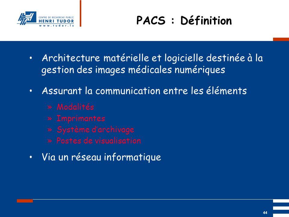 Mai 2004 UP2 GBM Nancy RIS/ PACS 44 PACS : Définition Architecture matérielle et logicielle destinée à la gestion des images médicales numériques Assu