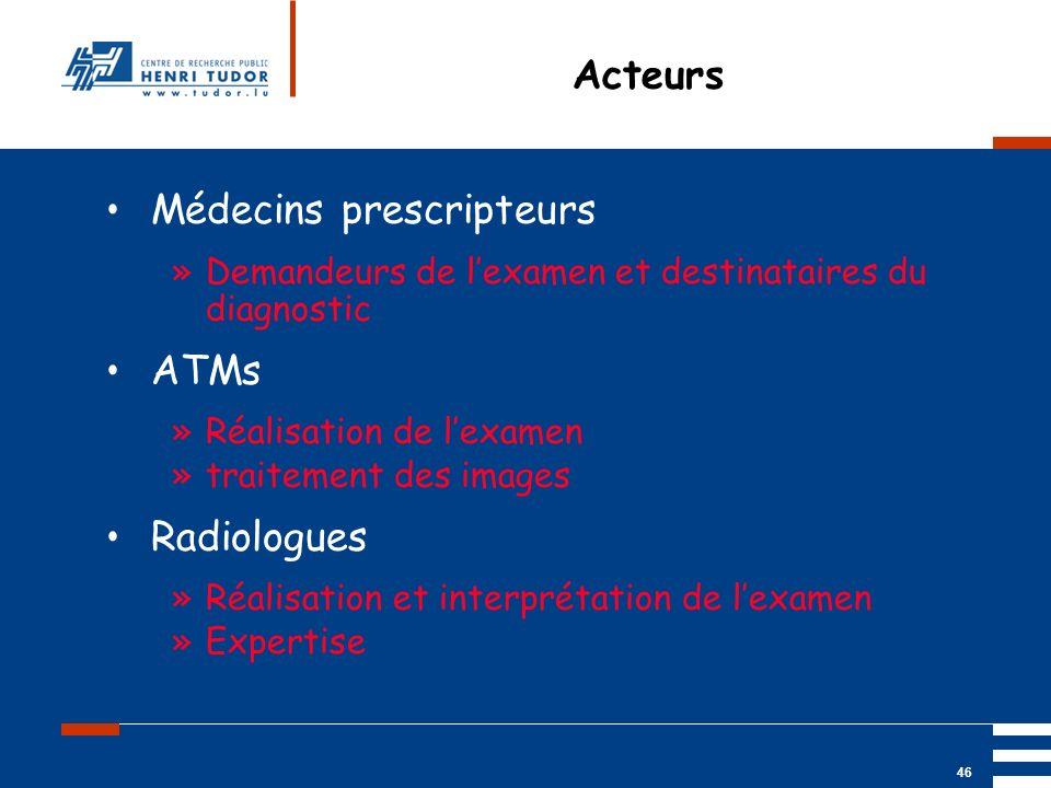 Mai 2004 UP2 GBM Nancy RIS/ PACS 46 Acteurs Médecins prescripteurs »Demandeurs de lexamen et destinataires du diagnostic ATMs »Réalisation de lexamen
