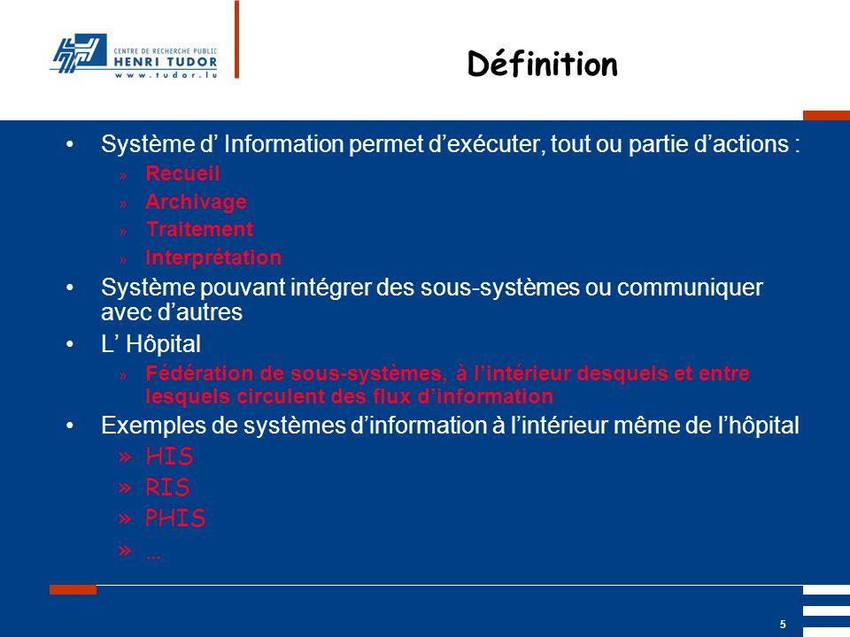 Mai 2004 UP2 GBM Nancy RIS/ PACS 5 Définition Système d Information permet dexécuter, tout ou partie dactions : » Recueil » Archivage » Traitement » I