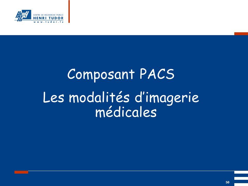 Mai 2004 UP2 GBM Nancy RIS/ PACS 50 Composant PACS Les modalités dimagerie médicales