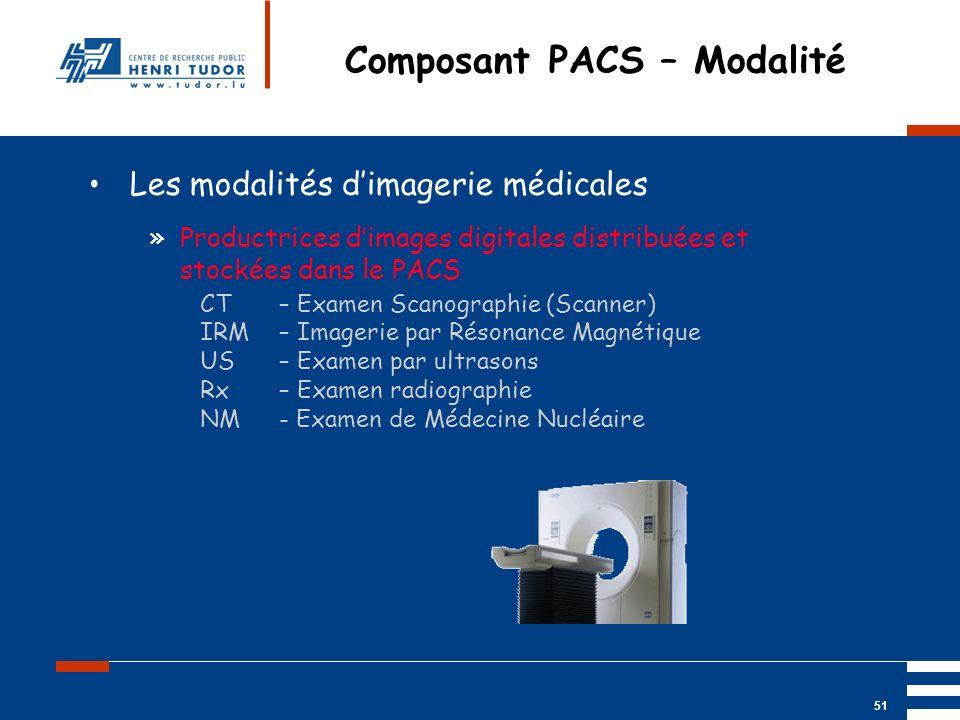 Mai 2004 UP2 GBM Nancy RIS/ PACS 51 Composant PACS – Modalité Les modalités dimagerie médicales »Productrices dimages digitales distribuées et stockée
