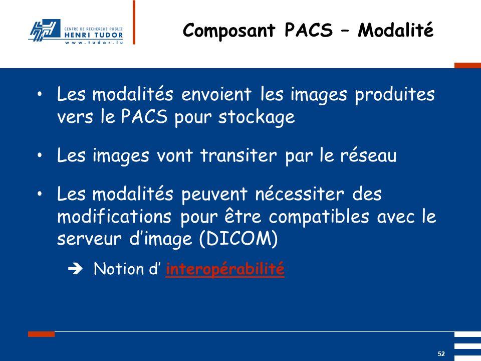 Mai 2004 UP2 GBM Nancy RIS/ PACS 52 Composant PACS – Modalité Les modalités envoient les images produites vers le PACS pour stockage Les images vont t