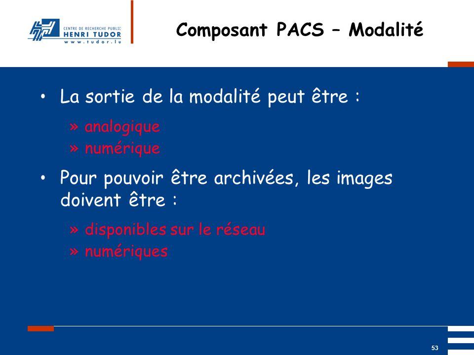 Mai 2004 UP2 GBM Nancy RIS/ PACS 53 Composant PACS – Modalité La sortie de la modalité peut être : »analogique »numérique Pour pouvoir être archivées,