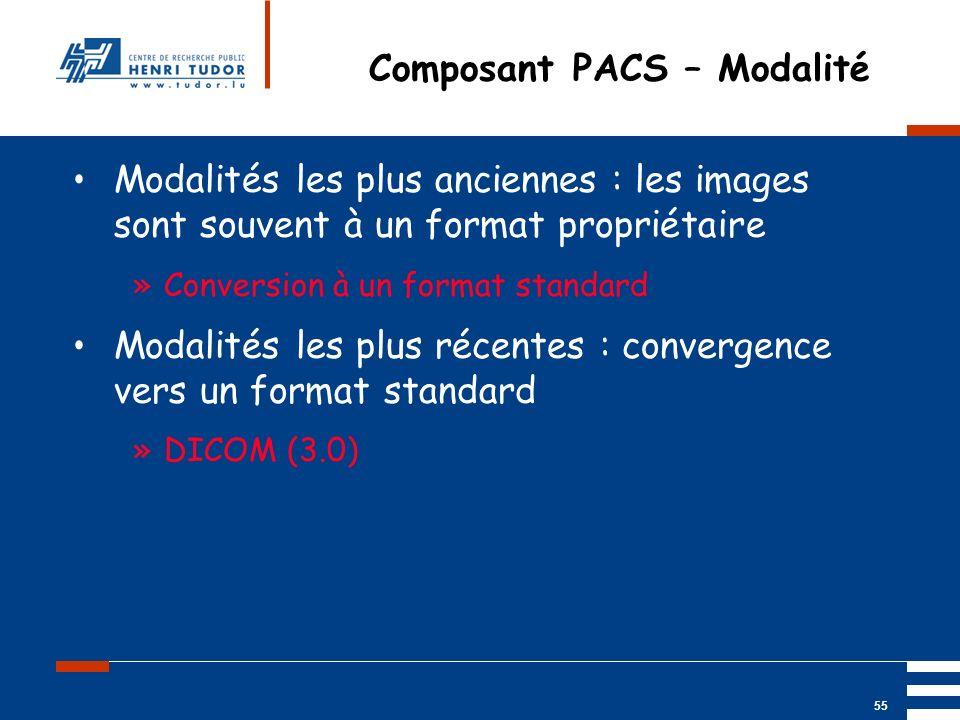 Mai 2004 UP2 GBM Nancy RIS/ PACS 55 Composant PACS – Modalité Modalités les plus anciennes : les images sont souvent à un format propriétaire »Convers