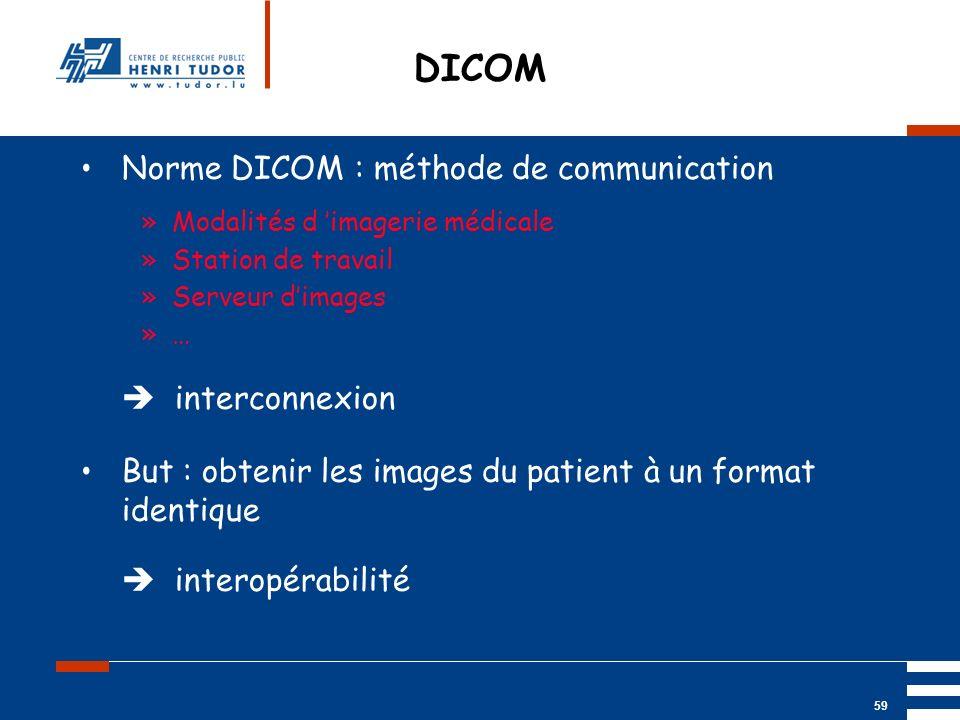 Mai 2004 UP2 GBM Nancy RIS/ PACS 59 DICOM Norme DICOM : méthode de communication »Modalités d imagerie médicale »Station de travail »Serveur dimages »