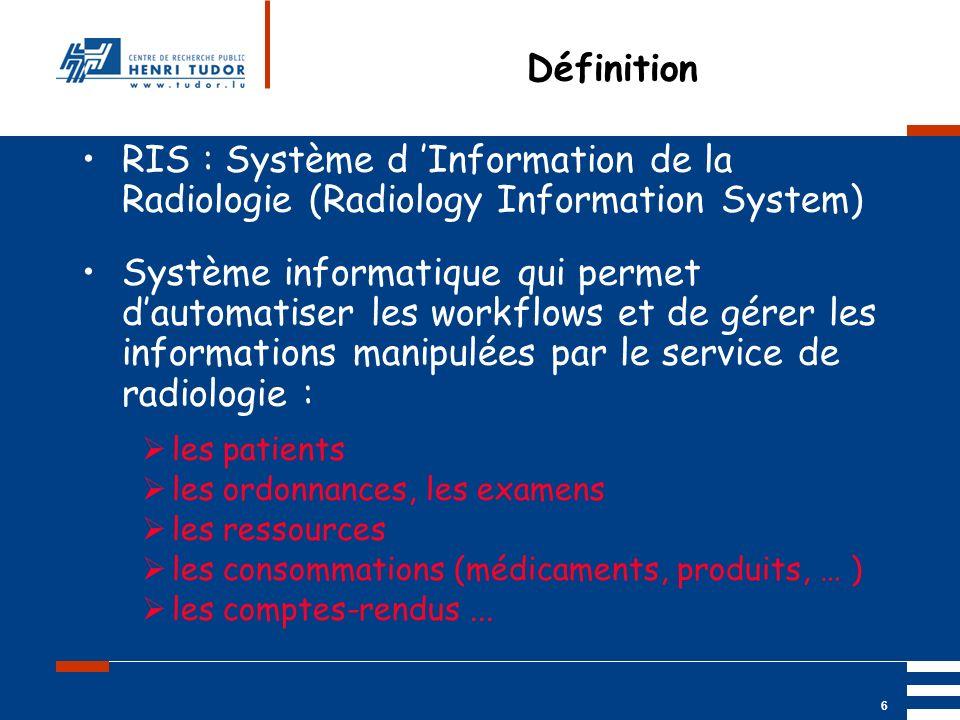 Mai 2004 UP2 GBM Nancy RIS/ PACS 6 Définition RIS : Système d Information de la Radiologie (Radiology Information System) Système informatique qui per