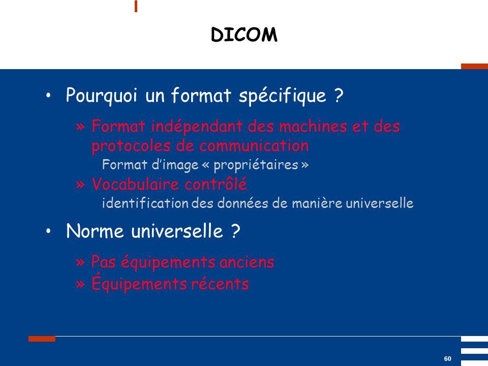Mai 2004 UP2 GBM Nancy RIS/ PACS 60 DICOM Pourquoi un format spécifique ? »Format indépendant des machines et des protocoles de communication Format d