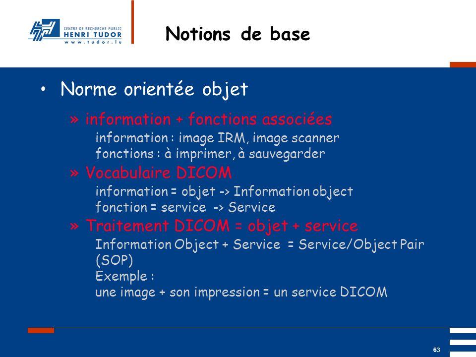 Mai 2004 UP2 GBM Nancy RIS/ PACS 63 Notions de base Norme orientée objet »information + fonctions associées information : image IRM, image scanner fon