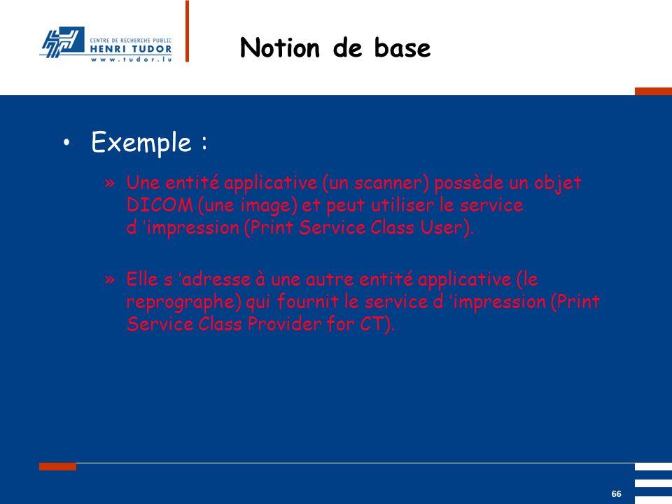 Mai 2004 UP2 GBM Nancy RIS/ PACS 66 Notion de base Exemple : »Une entité applicative (un scanner) possède un objet DICOM (une image) et peut utiliser
