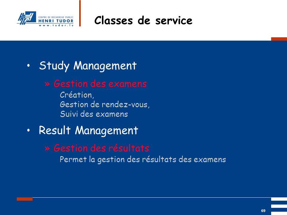 Mai 2004 UP2 GBM Nancy RIS/ PACS 69 Classes de service Study Management »Gestion des examens Création, Gestion de rendez-vous, Suivi des examens Resul
