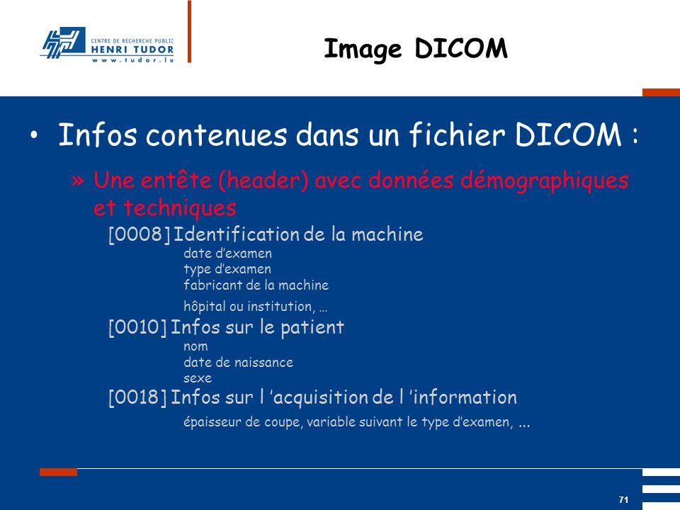 Mai 2004 UP2 GBM Nancy RIS/ PACS 71 Image DICOM Infos contenues dans un fichier DICOM : »Une entête (header) avec données démographiques et techniques