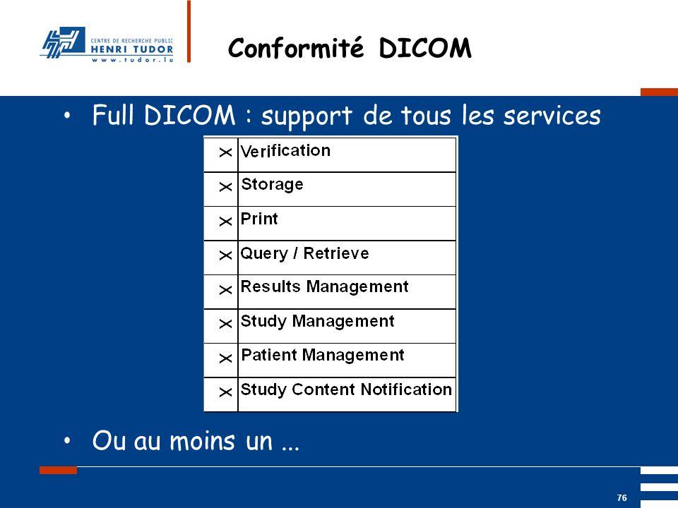 Mai 2004 UP2 GBM Nancy RIS/ PACS 76 Conformité DICOM Full DICOM : support de tous les services Ou au moins un...