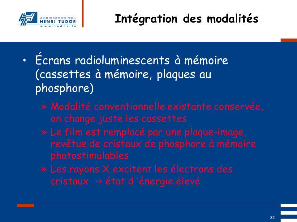 Mai 2004 UP2 GBM Nancy RIS/ PACS 83 Intégration des modalités Écrans radioluminescents à mémoire (cassettes à mémoire, plaques au phosphore) »Modalité
