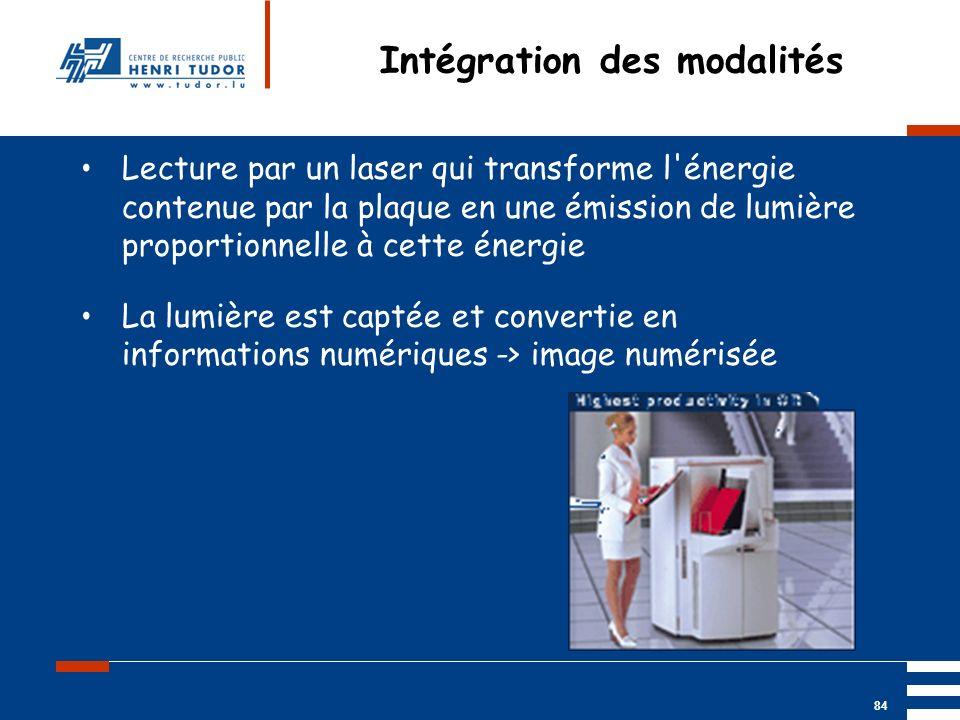 Mai 2004 UP2 GBM Nancy RIS/ PACS 84 Intégration des modalités Lecture par un laser qui transforme l'énergie contenue par la plaque en une émission de