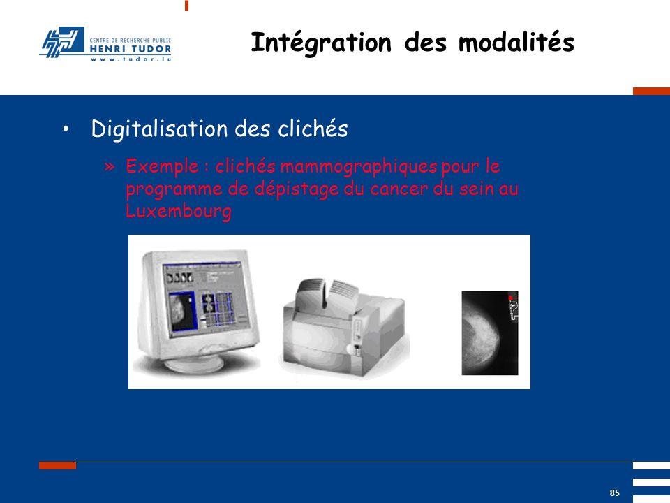 Mai 2004 UP2 GBM Nancy RIS/ PACS 85 Intégration des modalités Digitalisation des clichés »Exemple : clichés mammographiques pour le programme de dépis