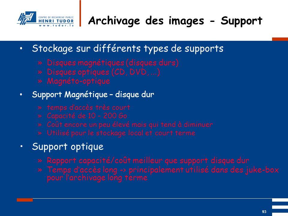 Mai 2004 UP2 GBM Nancy RIS/ PACS 93 Archivage des images - Support Stockage sur différents types de supports »Disques magnétiques (disques durs) »Disq