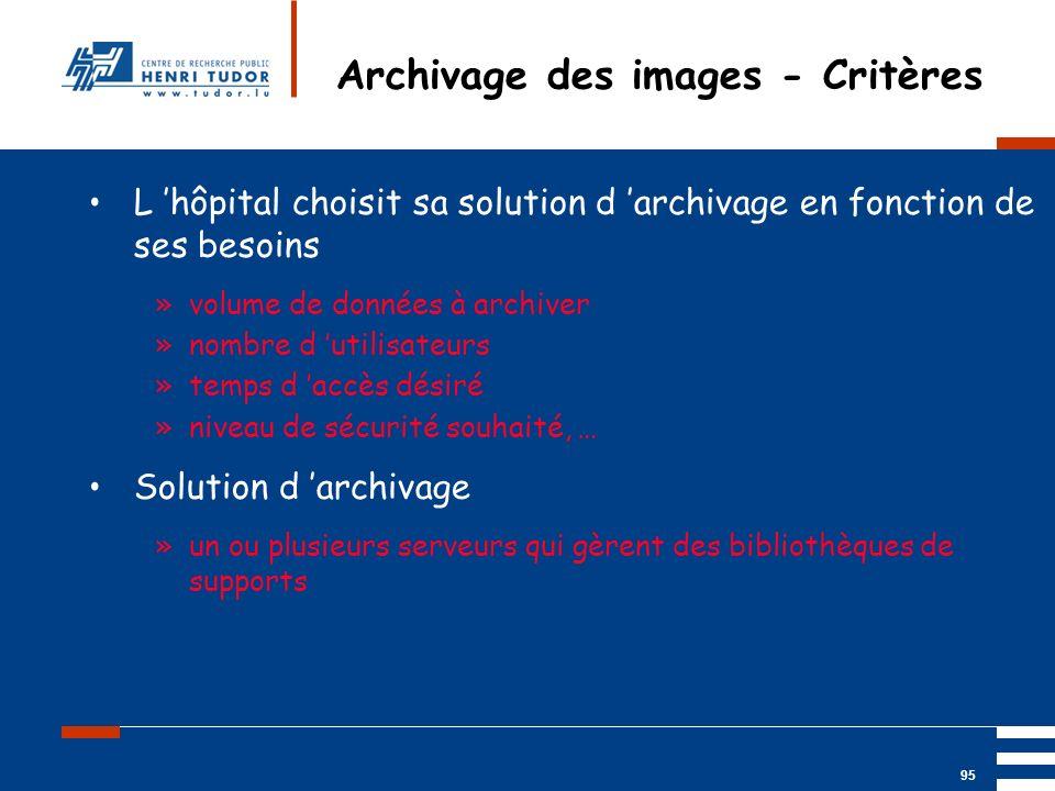 Mai 2004 UP2 GBM Nancy RIS/ PACS 95 Archivage des images - Critères L hôpital choisit sa solution d archivage en fonction de ses besoins »volume de do