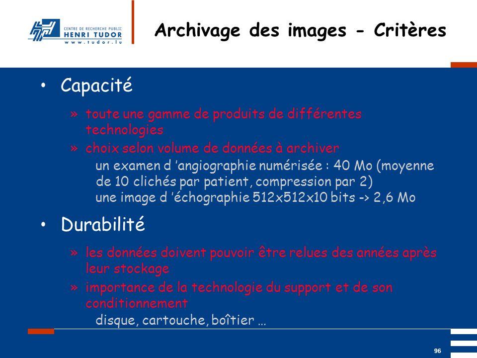 Mai 2004 UP2 GBM Nancy RIS/ PACS 96 Archivage des images - Critères Capacité »toute une gamme de produits de différentes technologies »choix selon vol