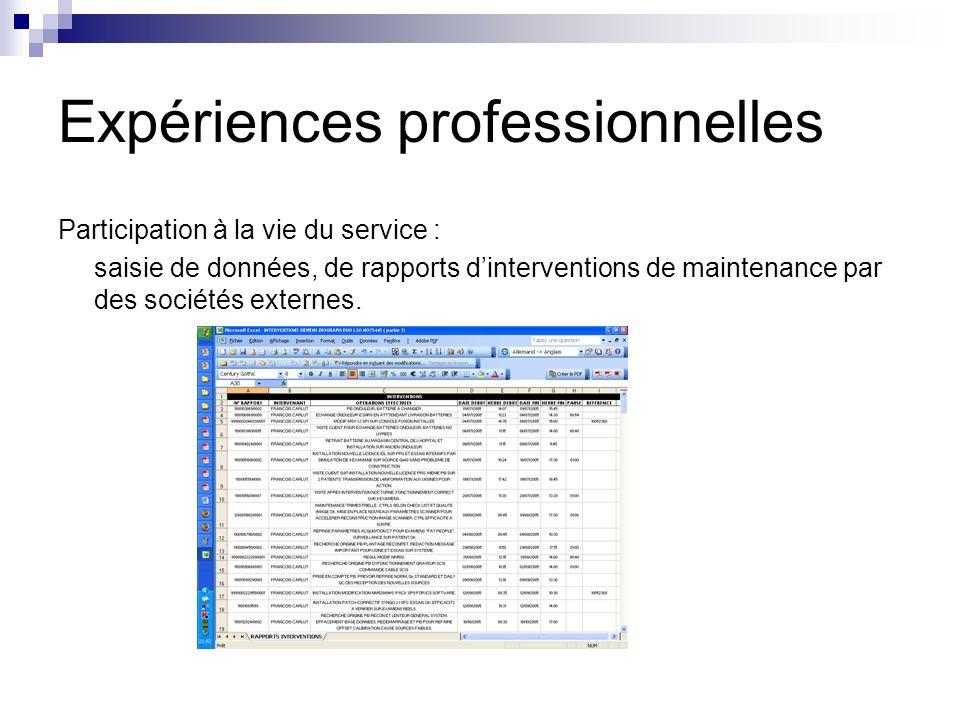 Participation à la vie du service : saisie de données, de rapports dinterventions de maintenance par des sociétés externes.