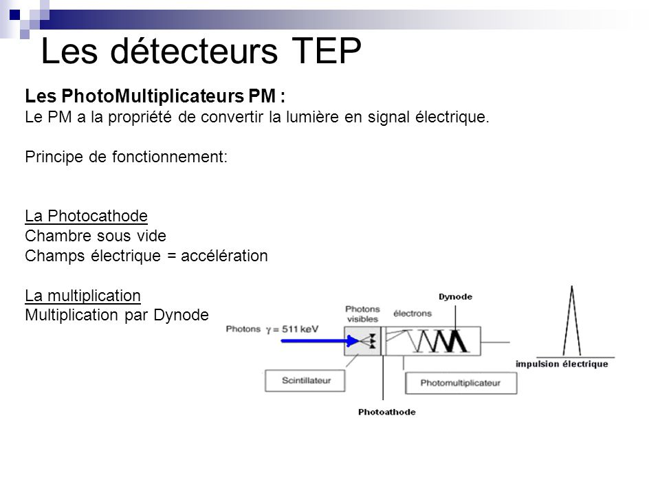 Les PhotoMultiplicateurs PM : Le PM a la propriété de convertir la lumière en signal électrique. Principe de fonctionnement: La Photocathode Chambre s
