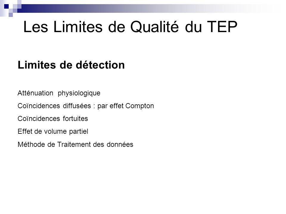 Les Limites de Qualité du TEP Limites de détection Atténuation physiologique Coïncidences diffusées : par effet Compton Coïncidences fortuites Effet d