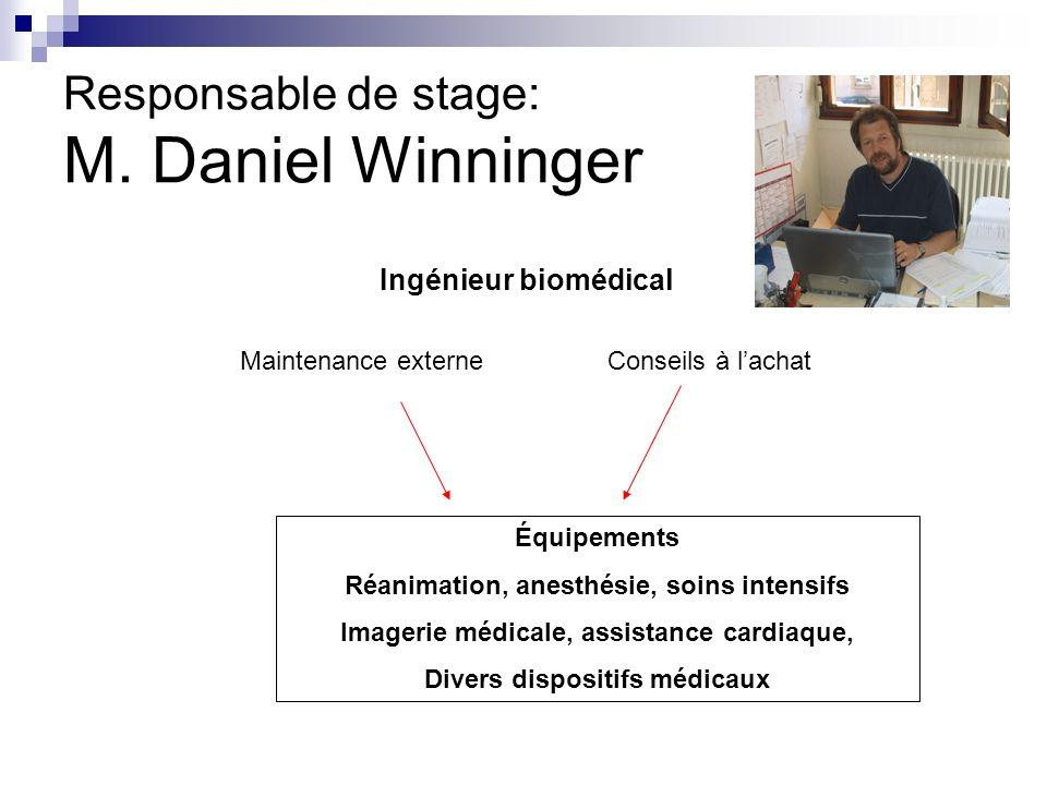Responsable de stage: M. Daniel Winninger Ingénieur biomédical Maintenance externe Conseils à lachat Équipements Réanimation, anesthésie, soins intens