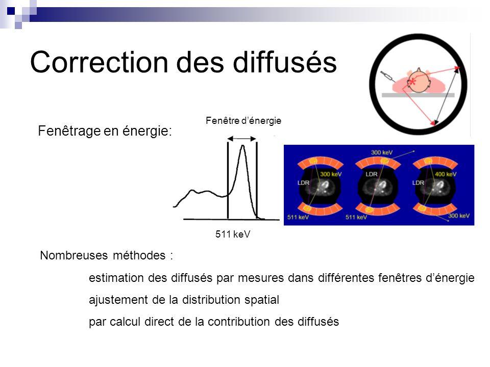 Correction des diffusés Fenêtrage en énergie: 511 keV Fenêtre dénergie Nombreuses méthodes : estimation des diffusés par mesures dans différentes fenê