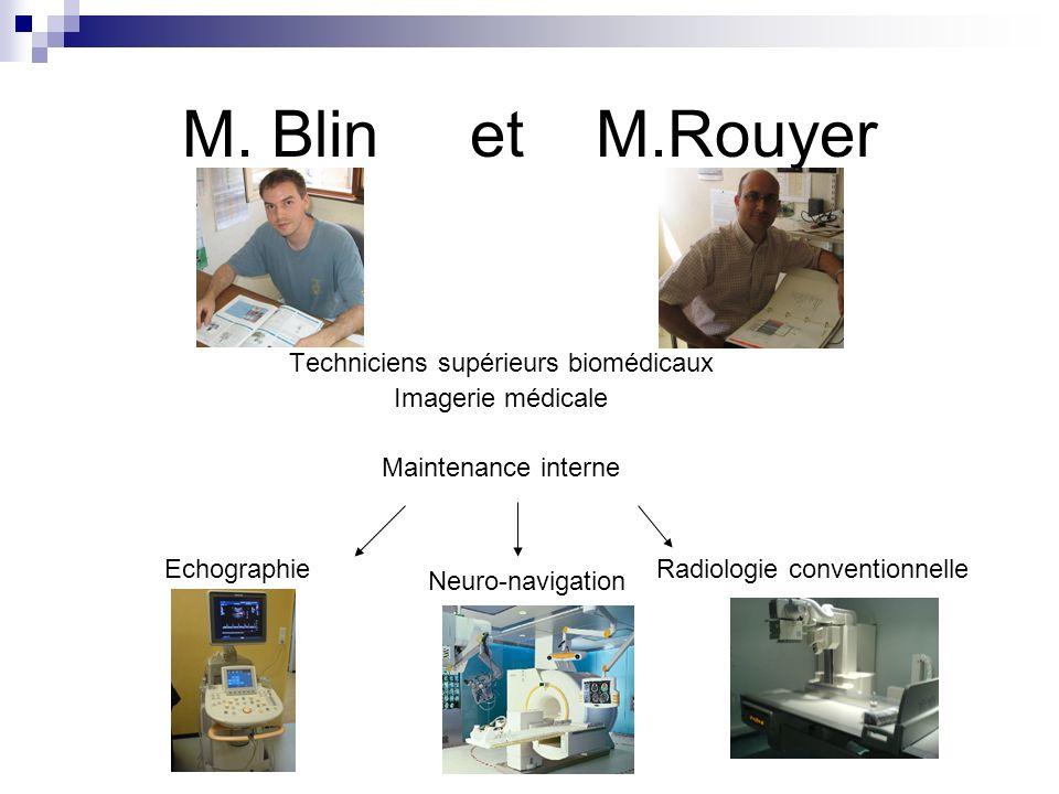 M. Blin et M.Rouyer Techniciens supérieurs biomédicaux Imagerie médicale Maintenance interne EchographieRadiologie conventionnelle Neuro-navigation