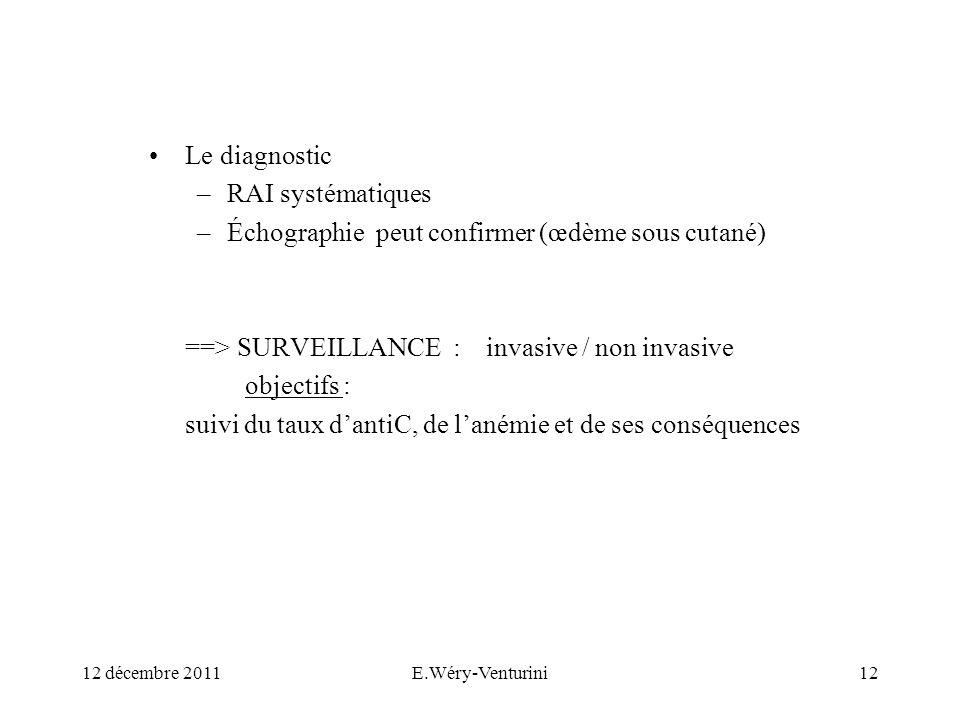 Le diagnostic –RAI systématiques –Échographie peut confirmer (œdème sous cutané) ==> SURVEILLANCE : invasive / non invasive objectifs : suivi du taux