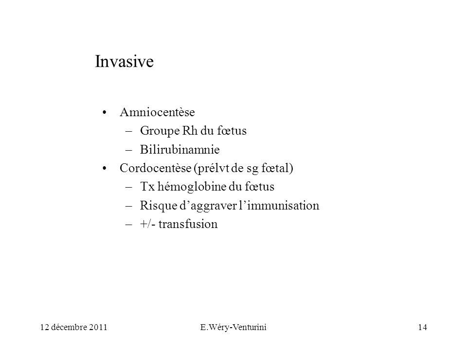 Invasive Amniocentèse –Groupe Rh du fœtus –Bilirubinamnie Cordocentèse (prélvt de sg fœtal) –Tx hémoglobine du fœtus –Risque daggraver limmunisation –