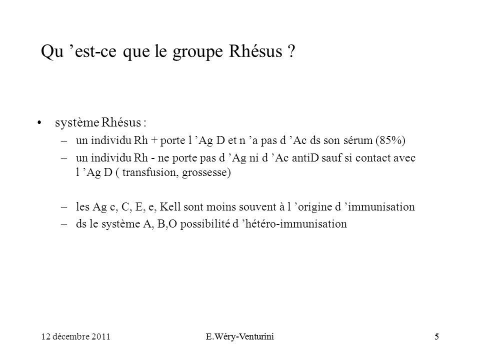 Qu est-ce que le groupe Rhésus ? système Rhésus : –un individu Rh + porte l Ag D et n a pas d Ac ds son sérum (85%) –un individu Rh - ne porte pas d A
