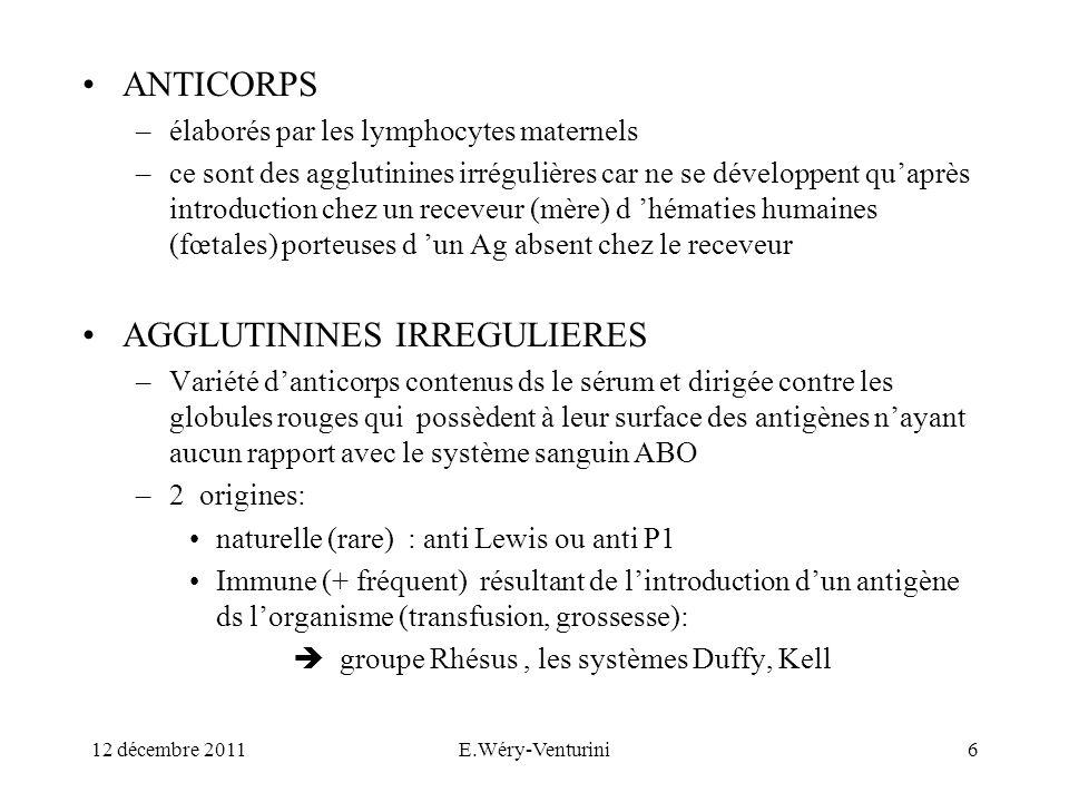 ANTICORPS –élaborés par les lymphocytes maternels –ce sont des agglutinines irrégulières car ne se développent quaprès introduction chez un receveur (
