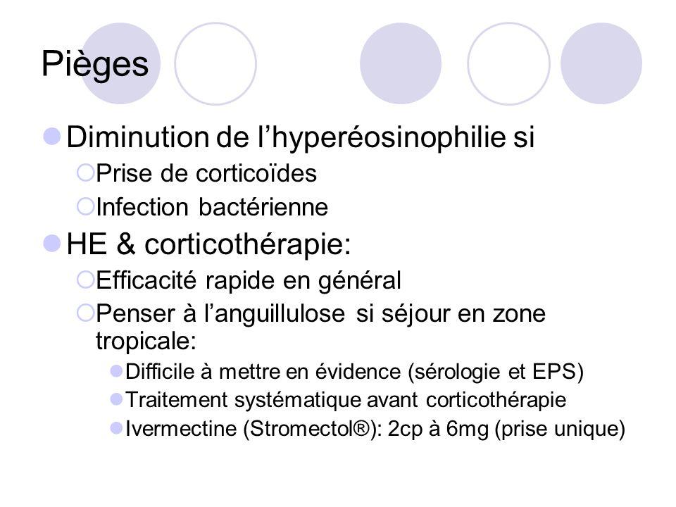 Pièges Diminution de lhyperéosinophilie si Prise de corticoïdes Infection bactérienne HE & corticothérapie: Efficacité rapide en général Penser à languillulose si séjour en zone tropicale: Difficile à mettre en évidence (sérologie et EPS) Traitement systématique avant corticothérapie Ivermectine (Stromectol®): 2cp à 6mg (prise unique)