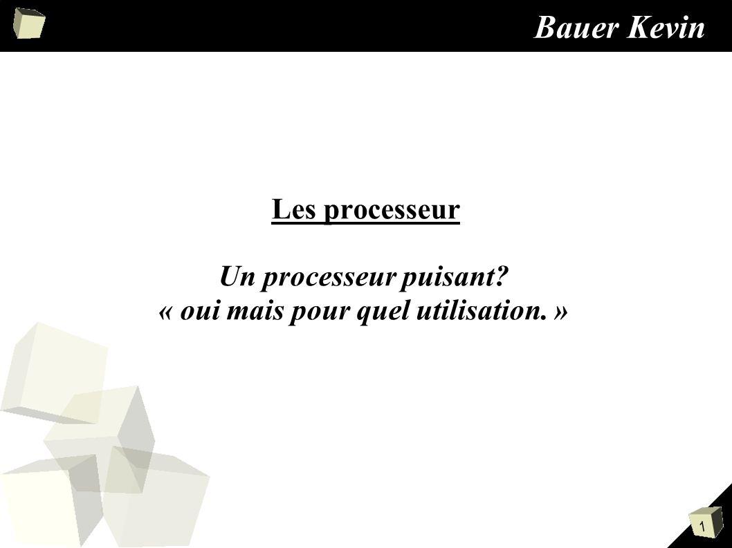 1 Bauer Kevin Les processeur Un processeur puisant? « oui mais pour quel utilisation. »