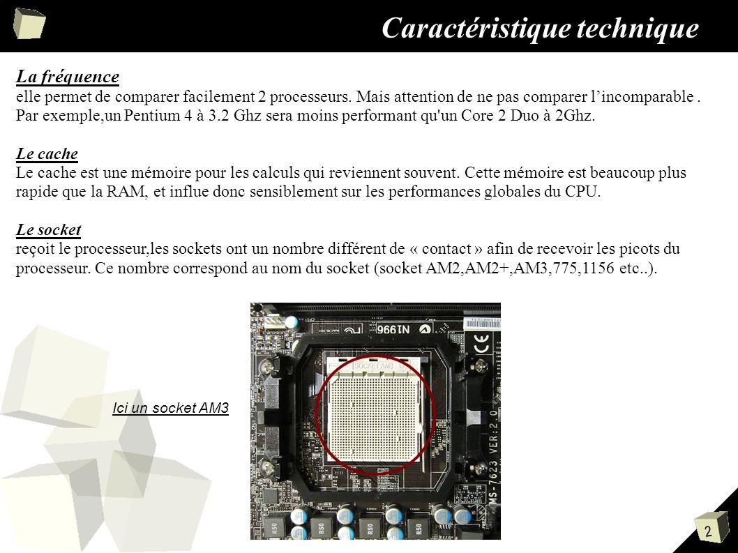 2 Caractéristique technique La fréquence elle permet de comparer facilement 2 processeurs.