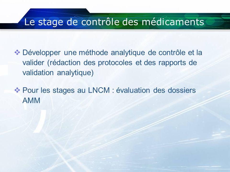 Développer une méthode analytique de contrôle et la valider (rédaction des protocoles et des rapports de validation analytique) Pour les stages au LNC