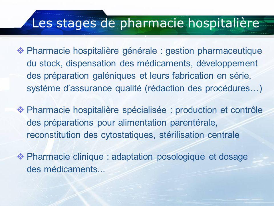 Les stages de pharmacie hospitalière : Pharmacie hospitalière générale : gestion pharmaceutique du stock, dispensation des médicaments, développement