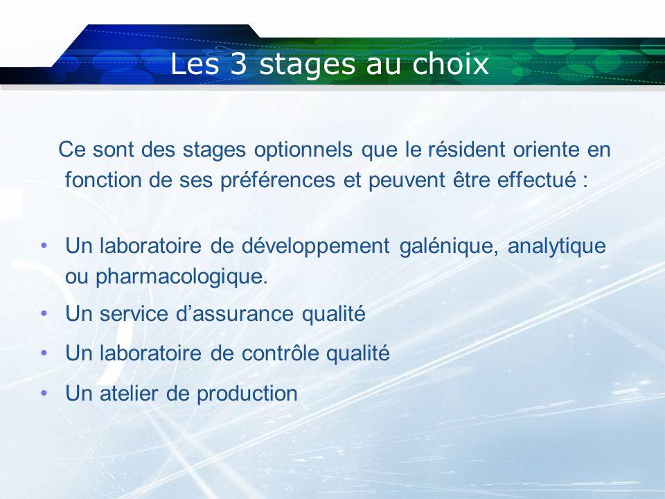Les 3 stages au choix Ce sont des stages optionnels que le résident oriente en fonction de ses préférences et peuvent être effectué : Un laboratoire d