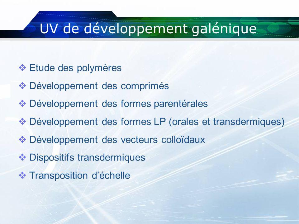 UV de développement galénique Etude des polymères Développement des comprimés Développement des formes parentérales Développement des formes LP (orale